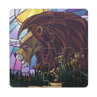 King Lion and Cubs Puzzle Coaster