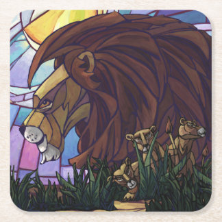 King Lion and Cubs Square Paper Coaster