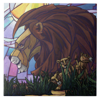 King Lion and Cubs Tile