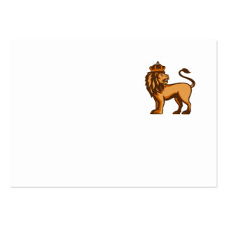 King Lion Crown Looking Side Retro Large Business Card