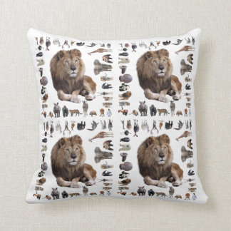 King lion of hundred animals throw pillow