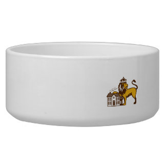 King Lion Paw on House Isolated Retro Bowl