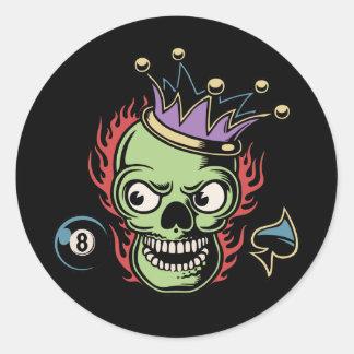 KIng Lucky Skull Classic Round Sticker