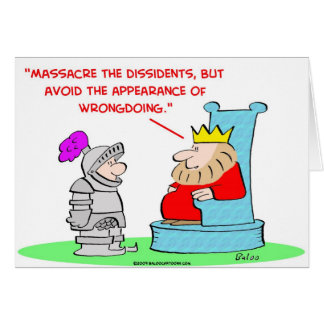 king massacre dissedents appearance wrongdoing card