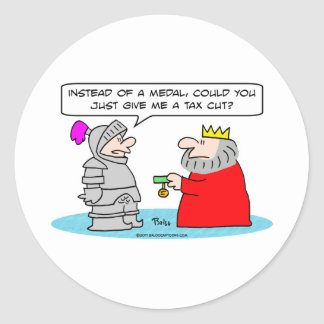king medal knight tax cut taxes round sticker
