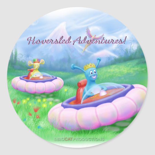 King Monty and Prince Marvin on their Hoversleds Classic Round Sticker