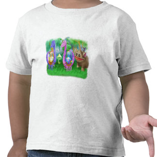 King Monty and the gang in Brimlest Forest T-shirts