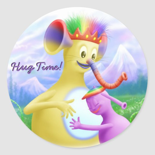 King Monty Getting A Hug Classic Round Sticker