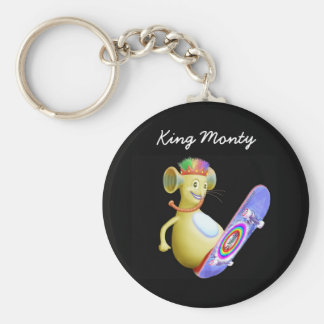 King Monty on Skate Board Keychain