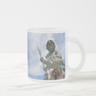 King Neptune Virginia Beach Statue Frosted Glass Coffee Mug