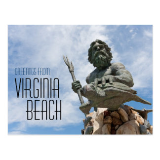 King Neptune Virginia Beach Statue Postcard