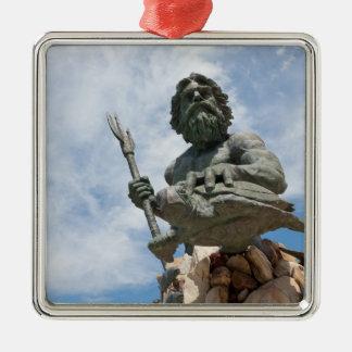 King Neptune Virginia Beach Statue Square Metal Christmas Ornament