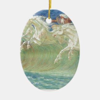 King Neptune's Horses On the Beach Ceramic Ornament