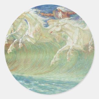 King Neptune's Horses On the Beach Classic Round Sticker