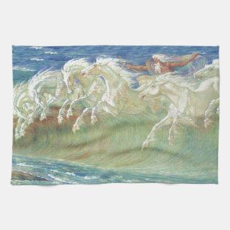 King Neptune's Horses on the Beach Hand Towel