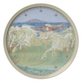 King Neptune's Horses on the Beach Melamine Plate