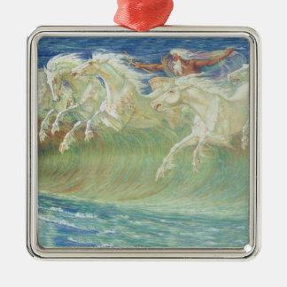King Neptune's Horses On the Beach Metal Ornament