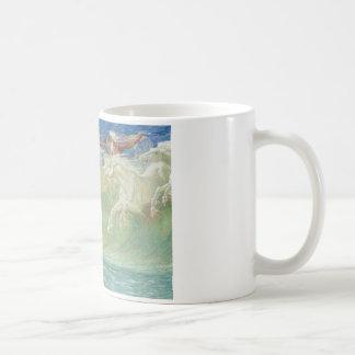 King Neptune's Horses On the Beach Classic White Coffee Mug