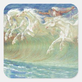 King Neptune's Horses On the Beach Square Sticker