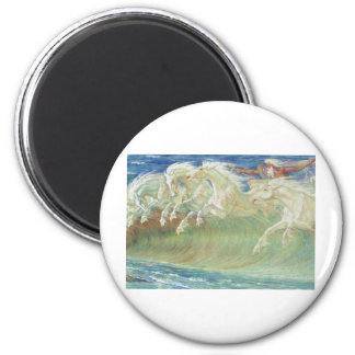 KING NEPTUNE'S HORSES RIDE THE WAVES 2 INCH ROUND MAGNET