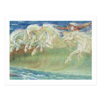 KING NEPTUNE'S HORSES RIDE THE WAVES POSTCARD