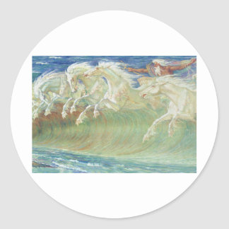 KING NEPTUNE'S HORSES RIDE THE WAVES ROUND STICKER