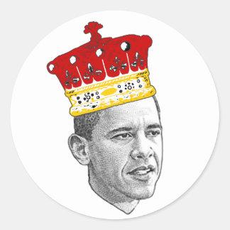 King Obama Round Stickers