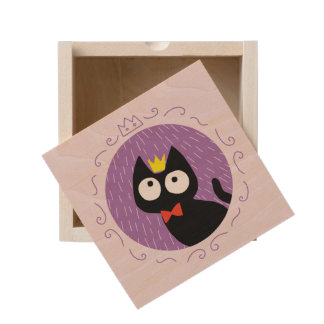 King of Black kitten Wooden Keepsake Box