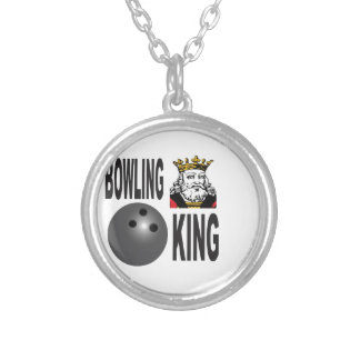 king of bowling silver plated necklace