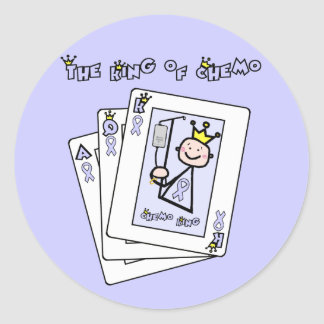 King of Chemo - Lavender Ribbon General Cancer Classic Round Sticker