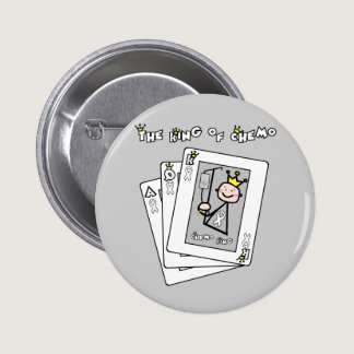 King of Chemo White Ribbon Lung Cancer Button