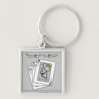 King of Chemo White Ribbon Lung Cancer Keychain