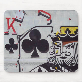 King of Clubs Falling Apart Mouse Pad