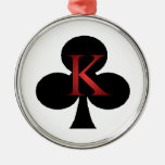 King of Clubs Playing Cards Metal Ornament