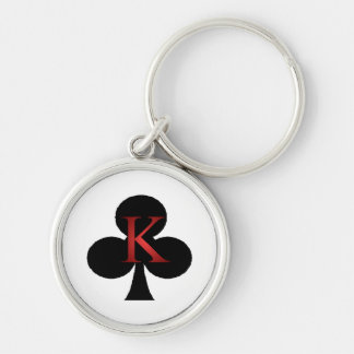 King of Clubs Playing Cards Silver-Colored Round Keychain