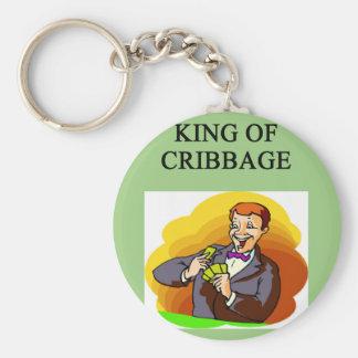 king of cribbage basic round button keychain