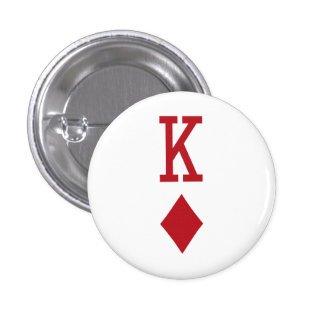 King of Diamonds Red Playing Card Pinback Button