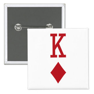 King of Diamonds Red Playing Card Pinback Buttons