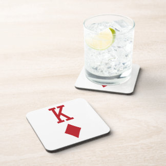 King of Diamonds Red Playing Card Beverage Coaster