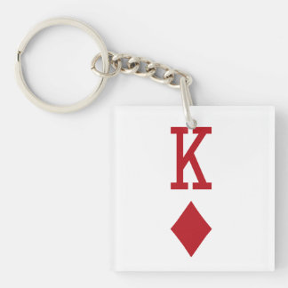 King of Diamonds Red Playing Card Key Chain