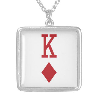 King of Diamonds Red Playing Card Pendants