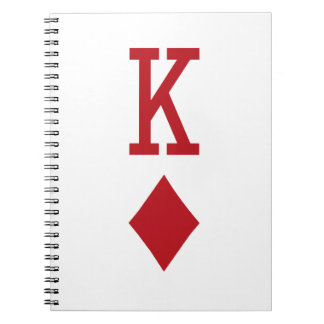 King of Diamonds Red Playing Card Note Book