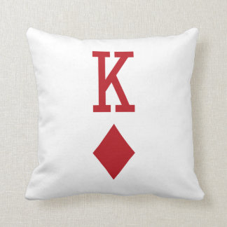 King of Diamonds Red Playing Card Pillow