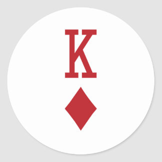 King of Diamonds Red Playing Card Round Stickers