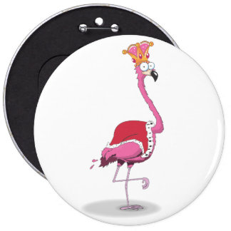 King of Flamingos 6 Inch Round Button
