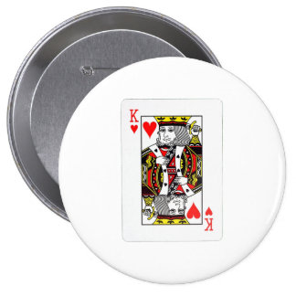 KING OF HEARTS 4 INCH ROUND BUTTON