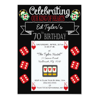King of Hearts 70th Birthday Party Invitation
