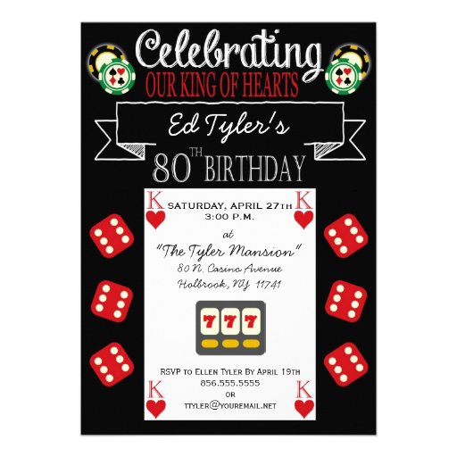 King of Hearts 80th Birthday Party Invitation