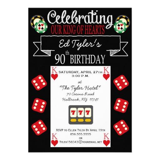 King of Hearts 90th Birthday Party Invitation