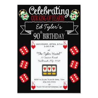 King of Hearts 90th Birthday Party Invitation